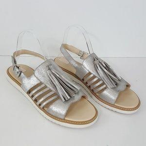 {Seychelles} Silver Tassel Slingback Sandals 11